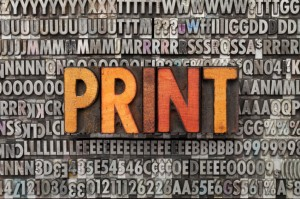 print word in letterpress type