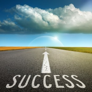 Empty asphalt road towards cloud and signs symbolizing success a